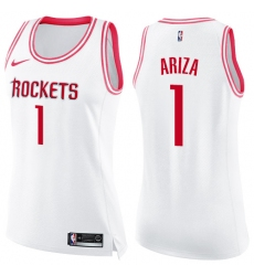 Women's Nike Houston Rockets #1 Trevor Ariza Swingman White/Pink Fashion NBA Jersey