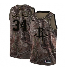 Men's Nike Houston Rockets #34 Hakeem Olajuwon Camo NBA Swingman Realtree Collection Jersey