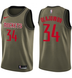 Men's Nike Houston Rockets #34 Hakeem Olajuwon Swingman Green Salute to Service NBA Jersey