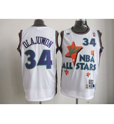 Rockets #34 Hakeem Olajuwon White All Star 1995 Stitched NBA Jersey
