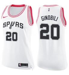 Women's Nike San Antonio Spurs #20 Manu Ginobili Swingman White/Pink Fashion NBA Jersey
