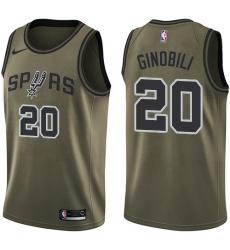 Youth Nike San Antonio Spurs #20 Manu Ginobili Swingman Green Salute to Service NBA Jersey
