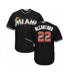 Men's Miami Marlins #22 Sandy Alcantara Authentic Black Team Logo Fashion Cool Base Baseball Jersey