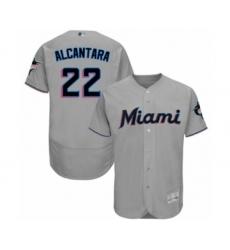 Men's Miami Marlins #22 Sandy Alcantara Grey Road Flex Base Authentic Collection Baseball Jersey