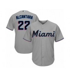 Men's Miami Marlins #22 Sandy Alcantara Replica Grey Road Cool Base Baseball Jersey