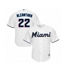 Men's Miami Marlins #22 Sandy Alcantara Replica White Home Cool Base Baseball Jersey