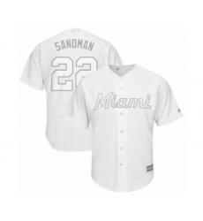 Men's Miami Marlins #22 Sandy Alcantara  Sandman Authentic White 2019 Players Weekend Baseball Jersey