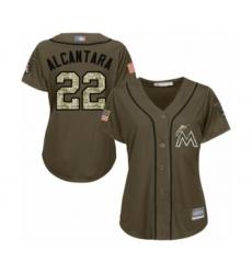 Women's Miami Marlins #22 Sandy Alcantara Authentic Green Salute to Service Baseball Jersey