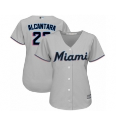 Women's Miami Marlins #22 Sandy Alcantara Authentic Grey Road Cool Base Baseball Jersey