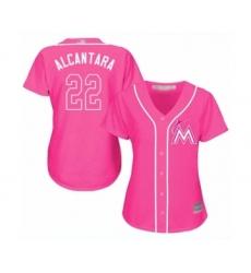 Women's Miami Marlins #22 Sandy Alcantara Authentic Pink Fashion Cool Base Baseball Jersey