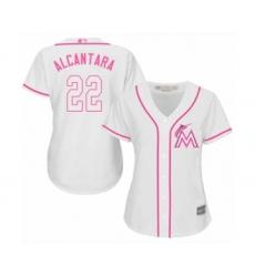 Women's Miami Marlins #22 Sandy Alcantara Authentic White Fashion Cool Base Baseball Jersey