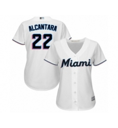 Women's Miami Marlins #22 Sandy Alcantara Authentic White Home Cool Base Baseball Jersey