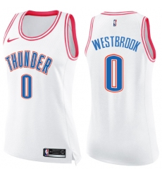 Women's Nike Oklahoma City Thunder #0 Russell Westbrook Swingman White/Pink Fashion NBA Jersey