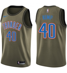Men's Nike Oklahoma City Thunder #40 Shawn Kemp Swingman Green Salute to Service NBA Jersey