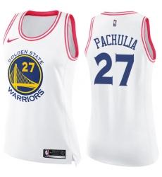 Women's Nike Golden State Warriors #27 Zaza Pachulia Swingman White/Pink Fashion NBA Jersey