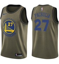 Youth Nike Golden State Warriors #27 Zaza Pachulia Swingman Green Salute to Service NBA Jersey