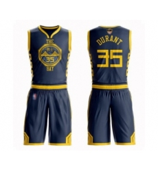 Men's Golden State Warriors #35 Kevin Durant Swingman Navy Blue Basketball Suit 2019 Basketball Finals Bound Jersey - City Edition