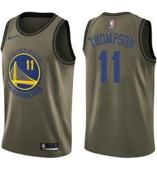 Men's Nike Golden State Warriors #11 Klay Thompson Swingman Green Salute to Service NBA Jersey