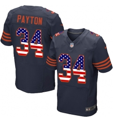 Men's Nike Chicago Bears #34 Walter Payton Elite Navy Blue Alternate USA Flag Fashion NFL Jersey