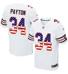 Men's Nike Chicago Bears #34 Walter Payton Elite White Road USA Flag Fashion NFL Jersey
