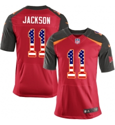Men's Nike Tampa Bay Buccaneers #11 DeSean Jackson Elite Red Home USA Flag Fashion NFL Jersey