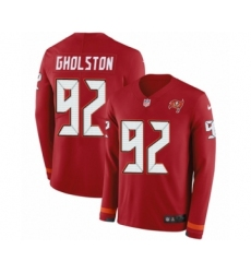 Men's Nike Tampa Bay Buccaneers #92 William Gholston Limited Red Therma Long Sleeve NFL Jersey