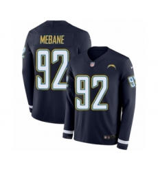 Men's Nike Los Angeles Chargers #92 Brandon Mebane Limited Navy Blue Therma Long Sleeve NFL Jersey