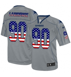 Men's Nike Dallas Cowboys #90 Demarcus Lawrence Elite Grey USA Flag Fashion NFL Jersey