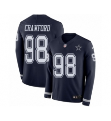 Men's Nike Dallas Cowboys #98 Tyrone Crawford Limited Navy Blue Therma Long Sleeve NFL Jersey