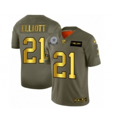 Men's Dallas Cowboys #21 Ezekiel Elliott Limited Olive Gold 2019 Salute to Service Football Jersey