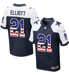 Men's Nike Dallas Cowboys #21 Ezekiel Elliott Elite Navy Blue Alternate USA Flag Fashion NFL Jersey