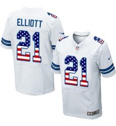 Men's Nike Dallas Cowboys #21 Ezekiel Elliott Elite White Road USA Flag Fashion NFL Jersey