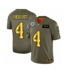 Men's Dallas Cowboys #4 Dak Prescott Limited Olive Gold 2019 Salute to Service Football Jersey