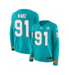 Women's Nike Miami Dolphins #91 Cameron Wake Limited Aqua Therma Long Sleeve NFL Jersey