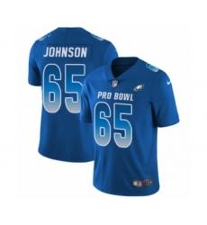 Men's Philadelphia Eagles #65 Lane Johnson Limited Royal Blue NFC 2019 Pro Bowl Football Jersey