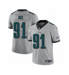 Women's Philadelphia Eagles #91 Fletcher Cox Limited Silver Inverted Legend Football Jersey