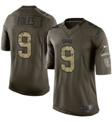 Men's Nike Philadelphia Eagles #9 Nick Foles Elite Green Salute to Service NFL Jersey