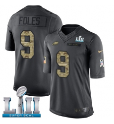Men's Nike Philadelphia Eagles #9 Nick Foles Limited Black 2016 Salute to Service Super Bowl LII NFL Jersey