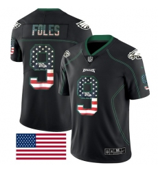 Men's Nike Philadelphia Eagles #9 Nick Foles Limited Black Rush USA Flag NFL Jersey