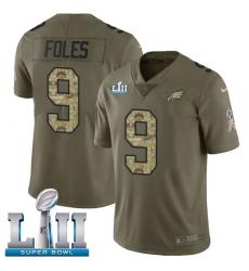 Men's Nike Philadelphia Eagles #9 Nick Foles Limited Olive/Camo 2017 Salute to Service Super Bowl LII NFL Jersey