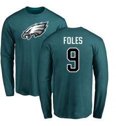 Nike Philadelphia Eagles #9 Nick Foles Green Name & Number Logo Long Sleeve T-Shirt