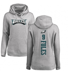 Women's Nike Philadelphia Eagles #9 Nick Foles Ash Backer Pullover Hoodie