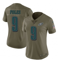 Women's Nike Philadelphia Eagles #9 Nick Foles Limited Olive 2017 Salute to Service NFL Jersey