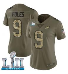 Women's Nike Philadelphia Eagles #9 Nick Foles Limited Olive/Camo 2017 Salute to Service Super Bowl LII NFL Jersey