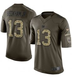 Men's Nike New York Giants #13 Odell Beckham Jr Elite Green Salute to Service NFL Jersey