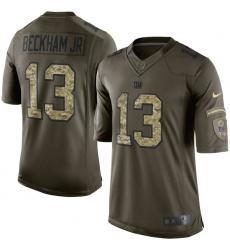 Men's Nike New York Giants #13 Odell Beckham Jr Elite Green Salute to Service NFL Jersey