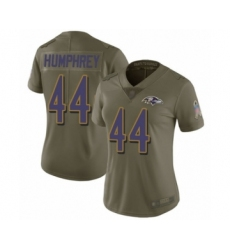 Women's Baltimore Ravens #44 Marlon Humphrey Limited Olive 2017 Salute to Service Football Jersey