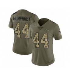 Women's Baltimore Ravens #44 Marlon Humphrey Limited Olive Camo Salute to Service Football Jersey
