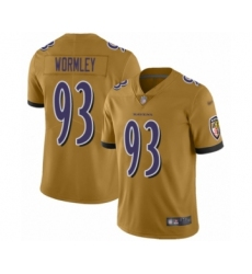 Men's Baltimore Ravens #93 Chris Wormley Limited Gold Inverted Legend Football Jersey