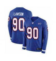 Men's Nike Buffalo Bills #90 Shaq Lawson Limited Royal Blue Therma Long Sleeve NFL Jersey